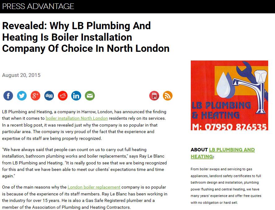 Boiler installation North London
