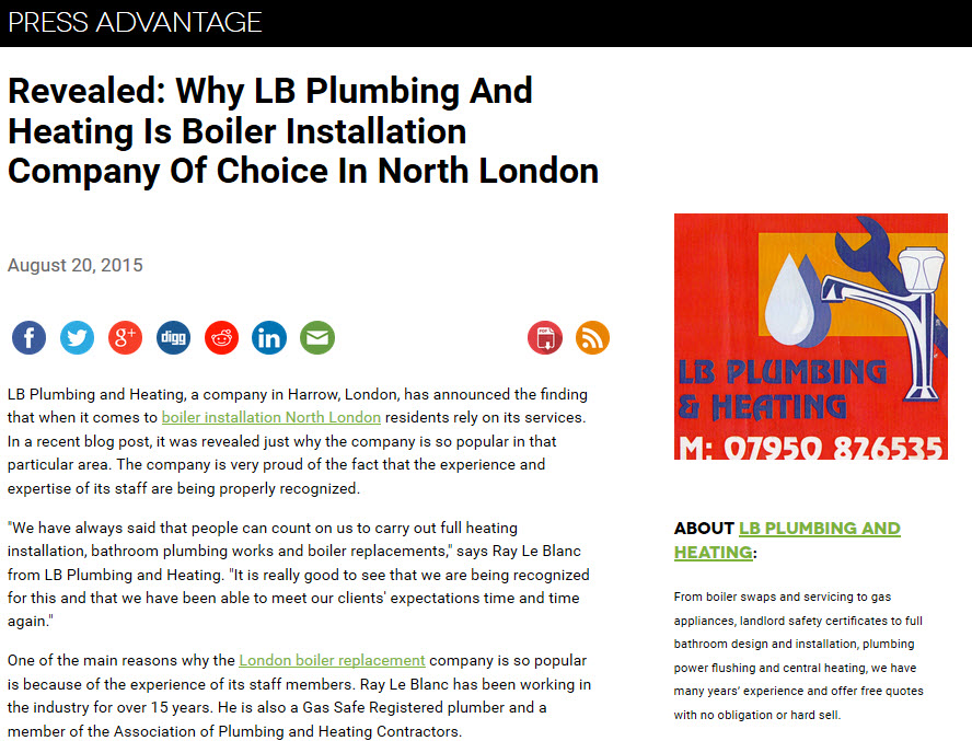 Boiler installation North London
