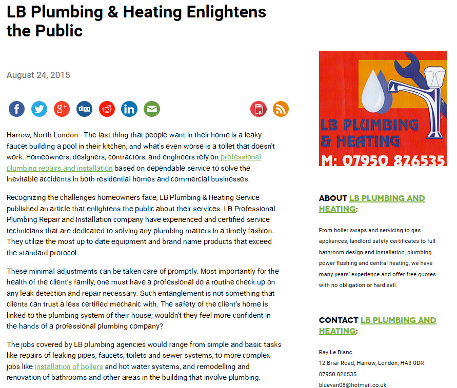 Plumbing Installation London